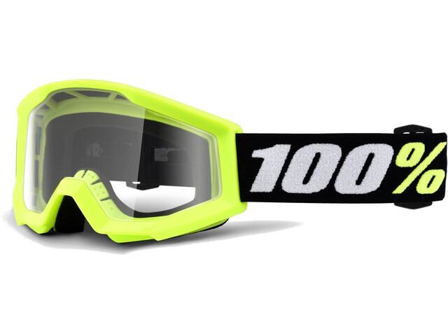 100% Strata Mini Anti Fog Clear Goggles Kinder yellow